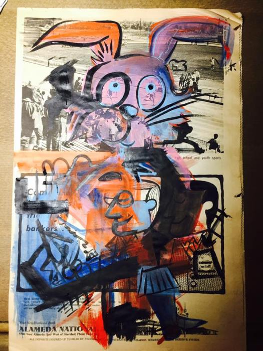 """Track Rabbit"" - 16x12 Watercolor on Newspaper"